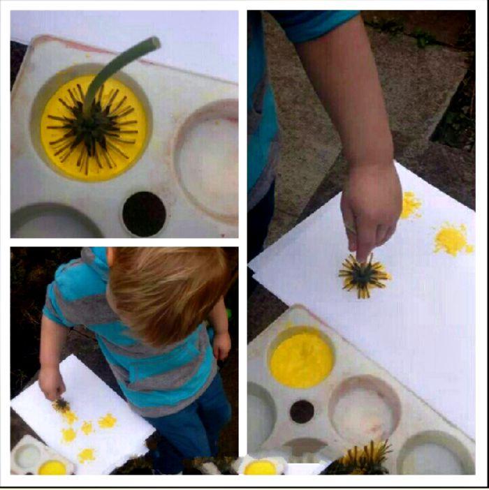 Painting with Dandelions | www,parenthoodhighsandlows.com