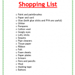 Christmas Crafts Shopping List