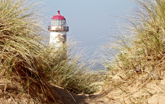 Point of Ayr Light House Poking Through the Sand Dune, Talacre, North Wales
