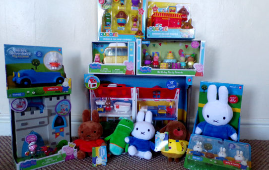 Hey Duggee, Miffy and Peppa Pig toys from Jazwares piled up in front of wall