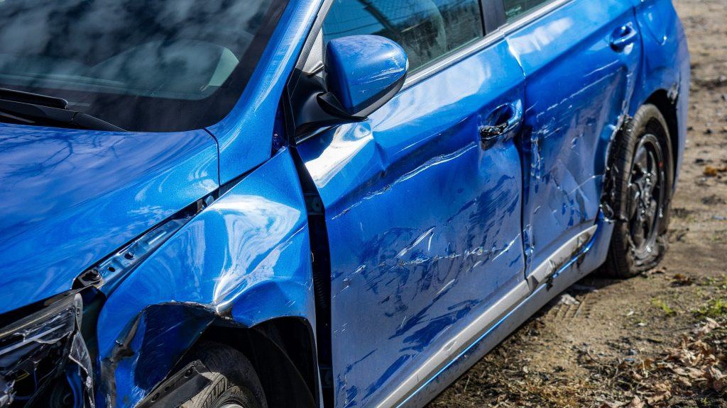 blue car involved in car accident