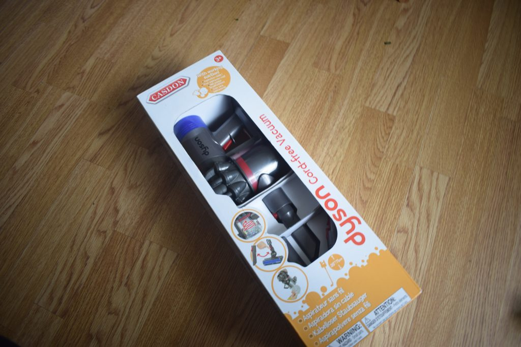 The Casdon Dyson Cord-Free Replica Vacuum in box